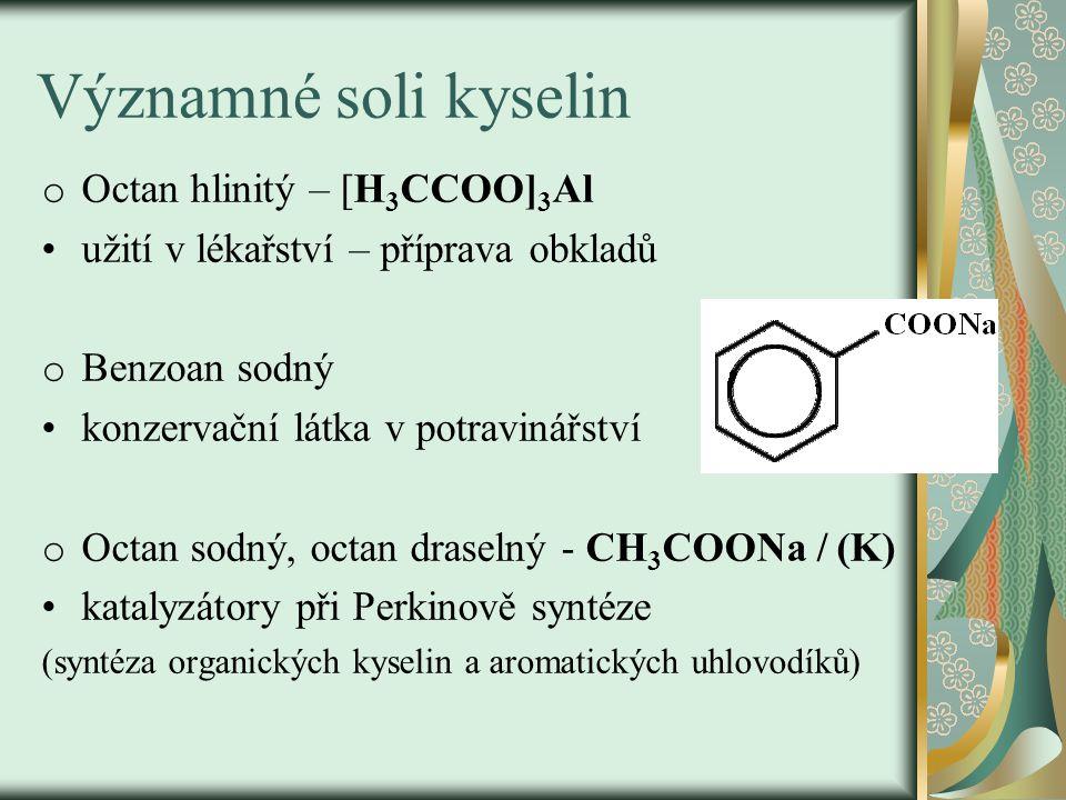 Významné soli kyselin Octan hlinitý – [H3CCOO]3Al
